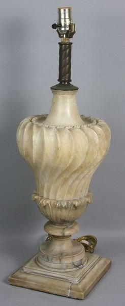 1002: Heavily Carved Marble Lamp