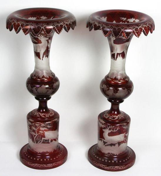1015: Pair of Bohemian Glass Candlesticks