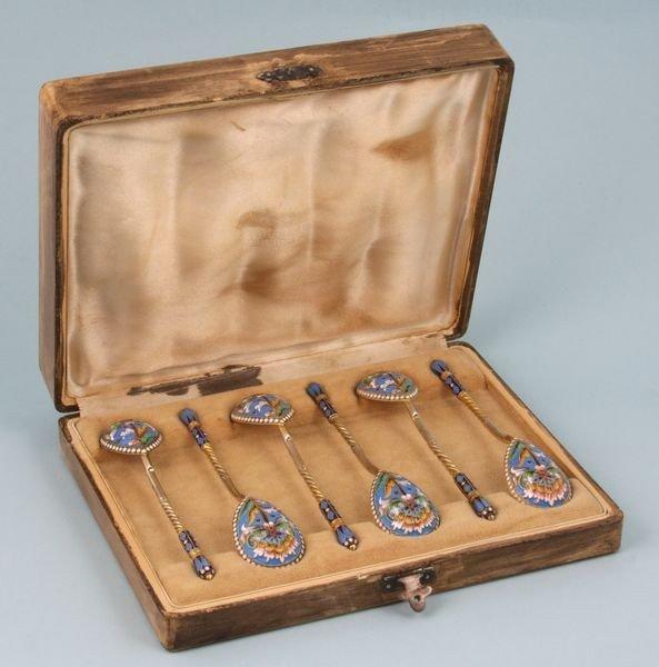 1194: Set of Six (6) Russian Enameled Spoons
