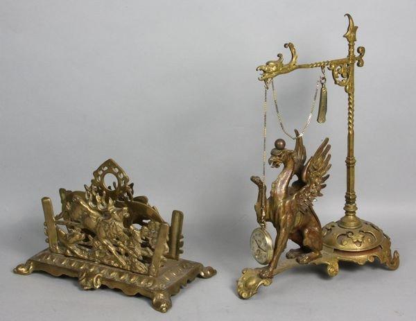 1008: 19th C. Victorian Bronze Watch Stand