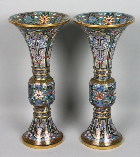 2181: Pair of Cloisonne Vases