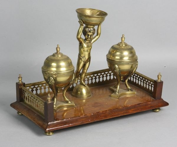 2012: 20th C. English Double Inkwell Set