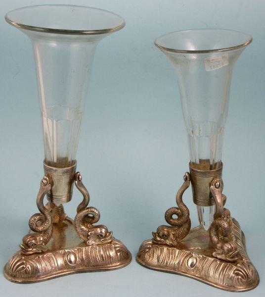 3009: Pair of Dolphin Flower Vases