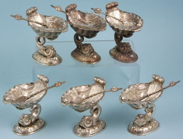 3010: Six (6) Silver Plated Dolphin Master Salts
