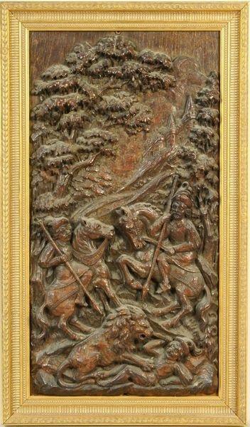 3015: 19th C. Polish Carved Wood Panel