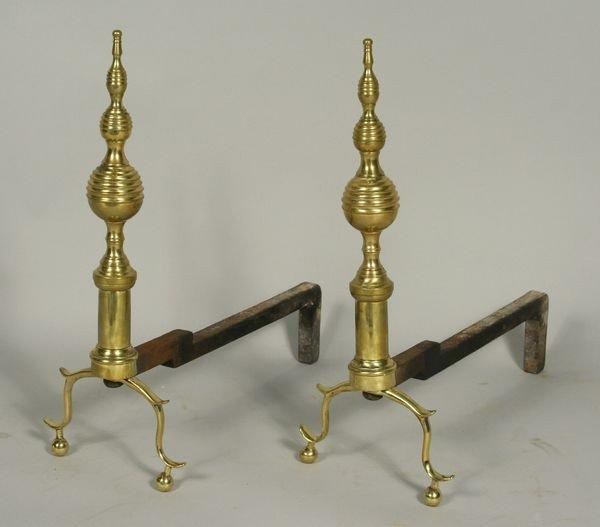 3001: 19th C. Pair of Brass Andirons