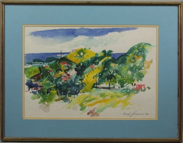 """3002: Signed """"May Fucini,"""" Town Before the Ocean, W/C"""