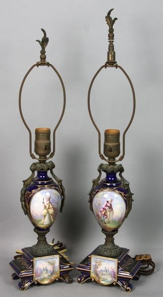 4013: 19th C. French Sevres Lamps