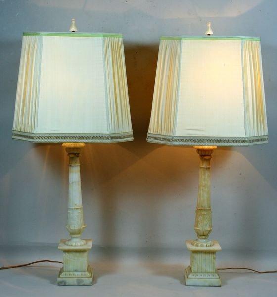 4020: Italian Carrara Marble Column Lamps