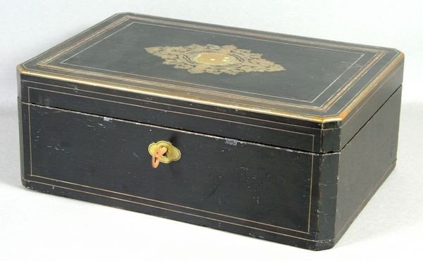 5001: 19th C. French Boulle Brass Ebonized Box
