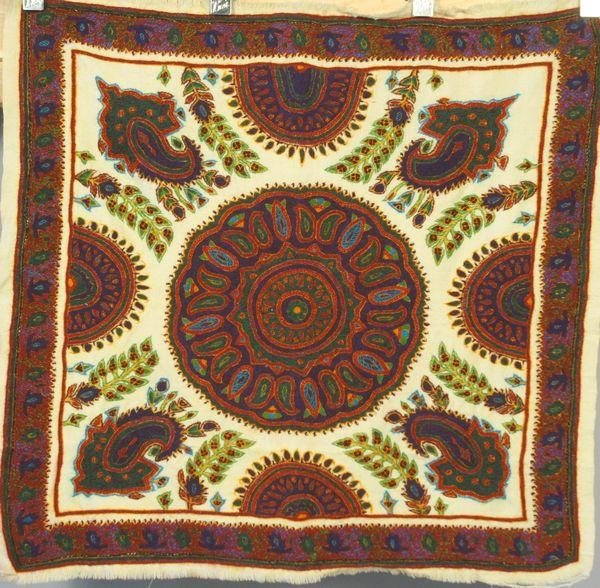 5002: 20th C. Kerman, Iran Hand Embroidered Wool Tapest