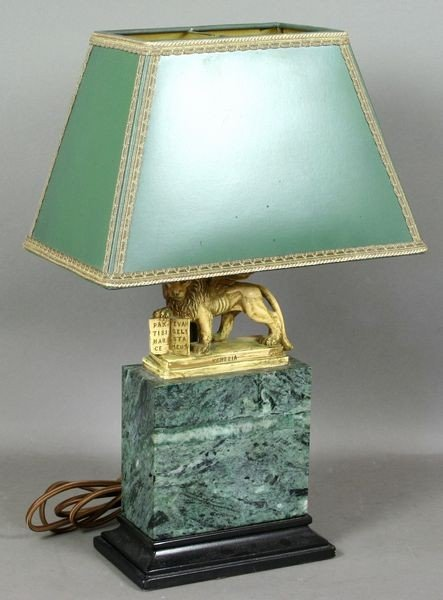 5007: Italian Sculpture of a Lion on Marble Base Lamp