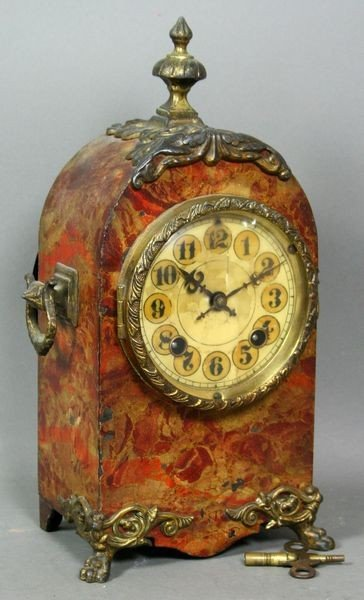 5009: 19th C. English Tole Decorated Cast Iron Clock