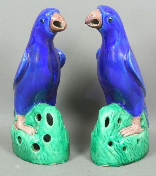 5010: Pr. of 19th C. Chinese Porcelain Glazed Parrots