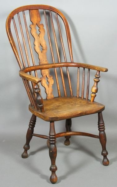5011: Early 19th C. English Yew wood Windsor Armchair