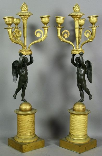 5013: Pr. of Mid 19th C. French Empire Dore Candelabra