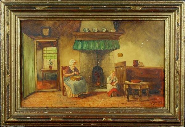 5016: Dutch School, Interior Scene of Mother and Child