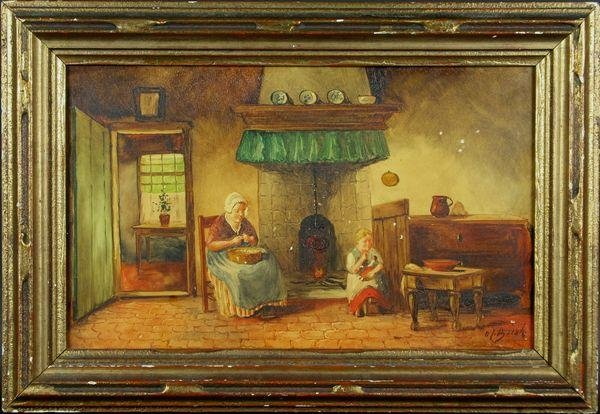 5016: Dutch School, Interior Scene of Mother and Child