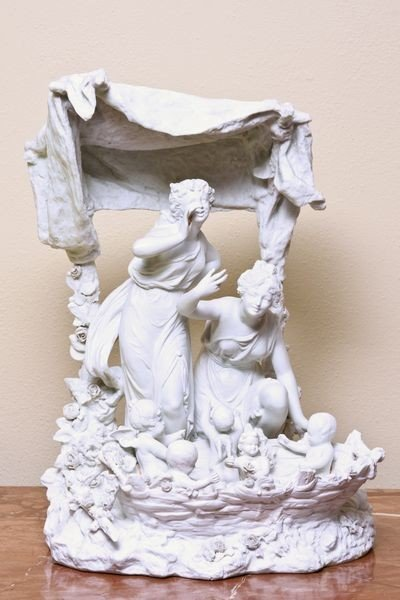 6043: Late 19th C. White Bisque Figural Group of Maiden