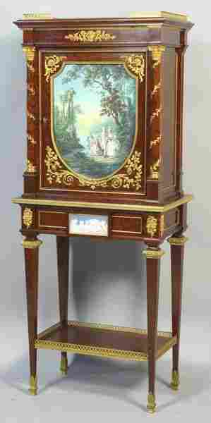 6216: Mid-19th C. French Plum Mahogany Cabinet