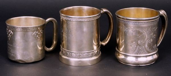 8001: Three (3) Sterling Mugs