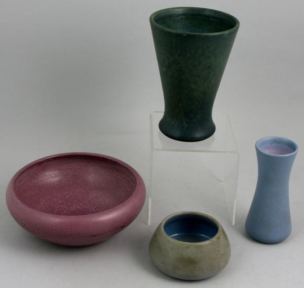 8019: Lot of Four (4) Small Marblehead Pottery Vessels