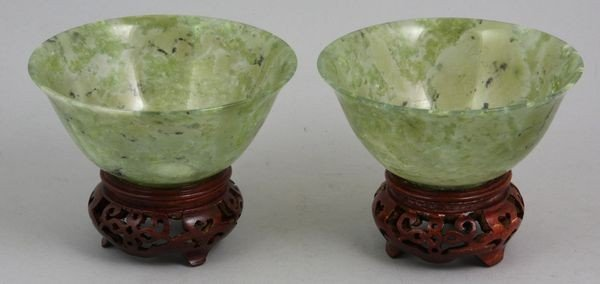 8017: Two (2) 20th C. Chinese Jade Bowls
