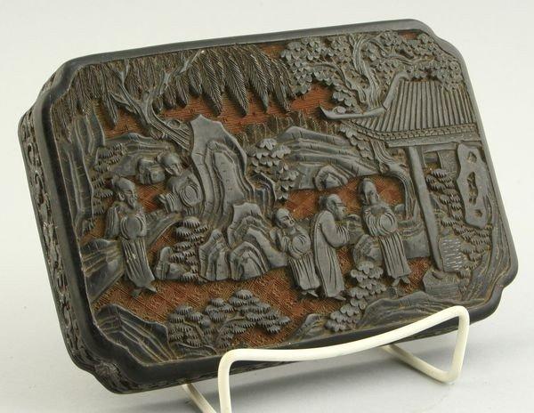 8002: Chinese Black Cinnabar Lid