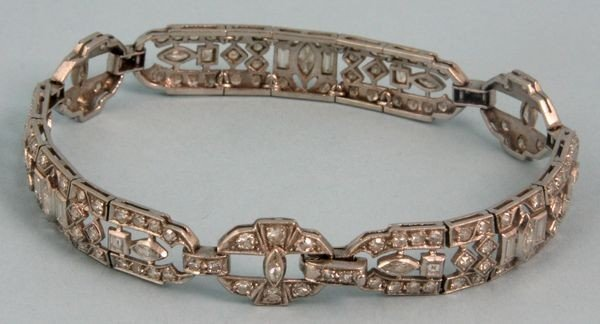 9068: Art Deco Platinum and Diamond Bracelet