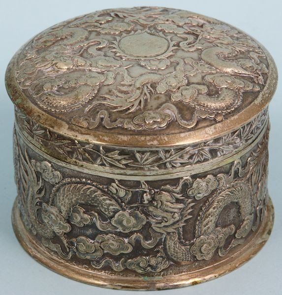 9004: Signed Chinese Silver Covered Box