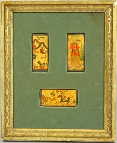 9023: Three (3) Persian Miniatures on Ivory