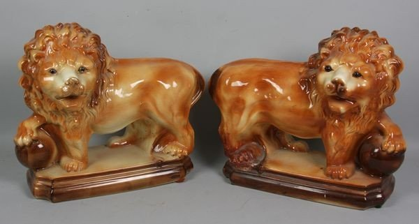 9014: Pair of English Staffordshire Style Lions