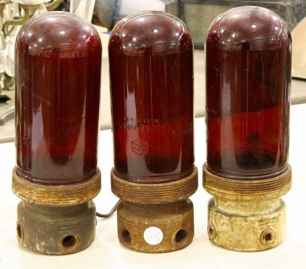 7: Three Red Glass Utility Lights