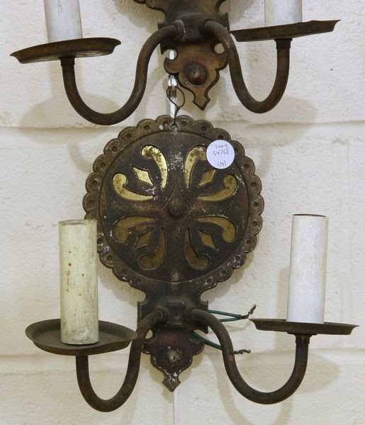 1025: Four Two-Arm Candle Sconces