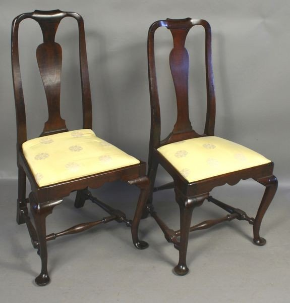 1207: Pair of 18th C. Queen Anne Mahogany Chairs