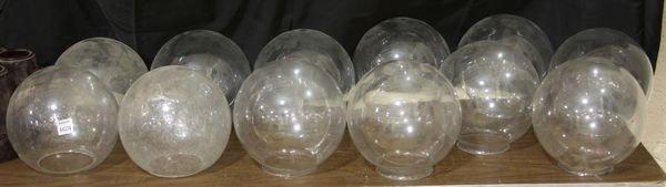 1016: Twelve (12) Clear Glass Shades