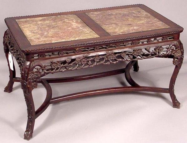 4: 19TH C CHINESE MARBLE & TEAKWOOD TABLE