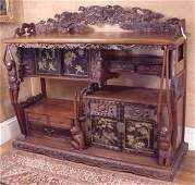 6 JAPANESE PERSIMMON WOOD SIDEBOARD C1890