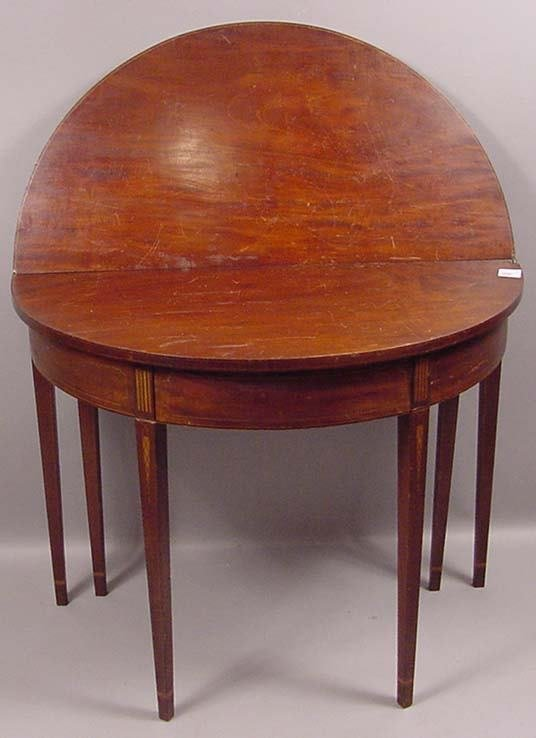 184: 19TH C DEMI-LUNE INLAID CARD TABLE