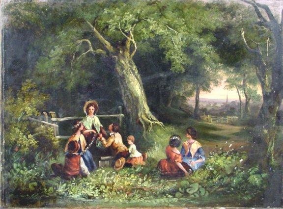 1007: E.PARTRIDGE OIL ON CANVAS CHILDREN IN GARDEN