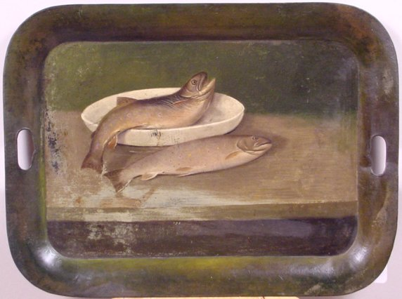 1021: TOLE TRAY WITH PAINTED TROUT MOTIF