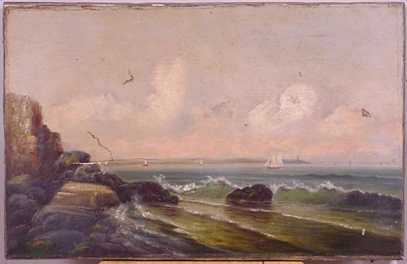 1022: 19TH CENTURY OIL ON CANVAS OF SHIP