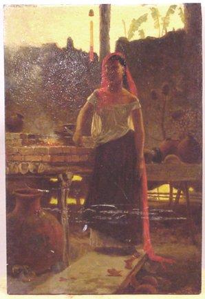 1058: 19TH CENTURY A.W. WARREN OIL ON PANEL