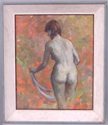 1149: SIGNED H.C.WOLCOTT NUDE PAINTING