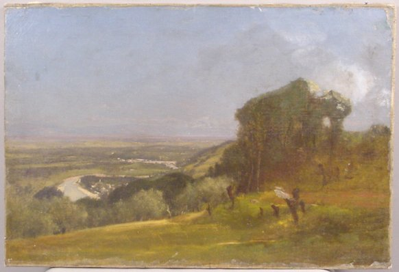 1152: OIL ON CANVAS DELAWARE VALLEY 1874