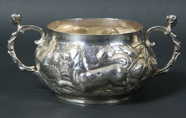 2416: English Silver Double Handled Porringer