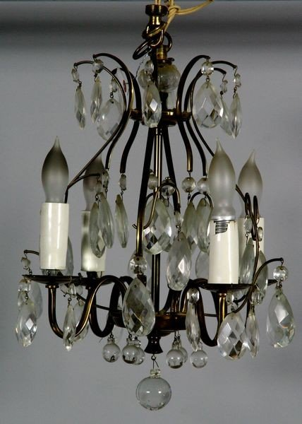 2011: Crystal and Brass Four Arm Chandelier
