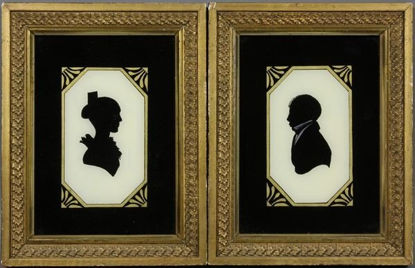 Pair of Sihouette Paintings Reverse Oil on Glass