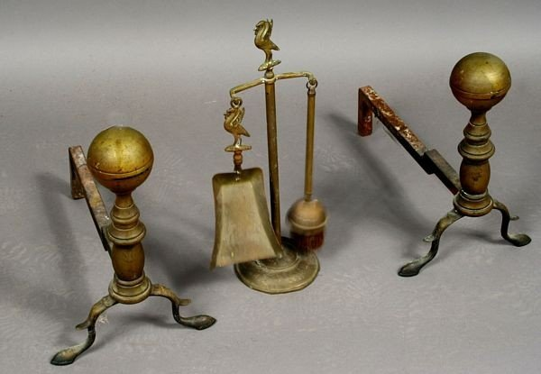 Pair of 19th C. Andirons and Fireplace Tool Set