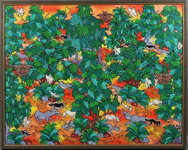 I.W. Dawa, Balinese Landscape w Animals, o/c